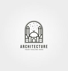 Islamic logo line art design mosque icon logo vector