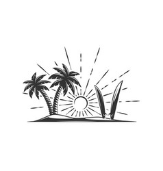island with palm trees and surfboards isolated on vector image