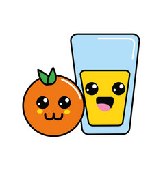 Kawaii happy orange and juice glass vector