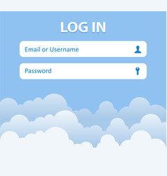 Login form menu with icons cloud background vector