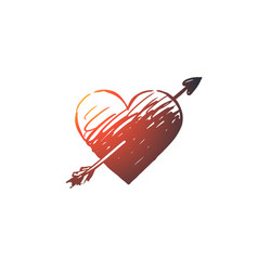 love heart arrow romantic valentine concept vector image