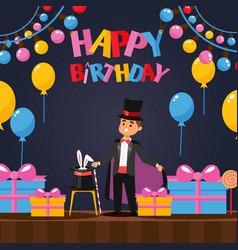 man performing magic tricks at birthday party vector image