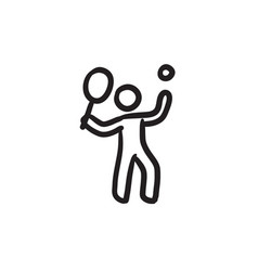 Man playing big tennis sketch icon vector