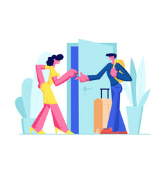 Man with luggage stand near door rent apartment vector