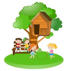 many kids playing in garden vector image