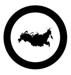 Map of russian icon black color in circle round vector
