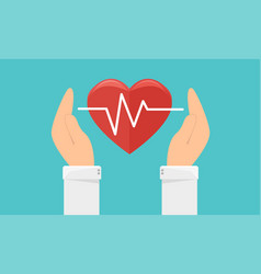 Medicine and health care icon hands holding heart vector