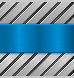 Metal background with blue brushed metal plate vector