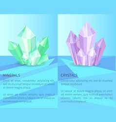 Minerals and crystals poster vector