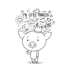 my little princess cute piggy in crown vector image