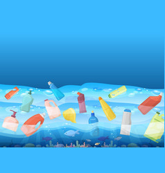 ocean pollution with image floating plastic bag vector image