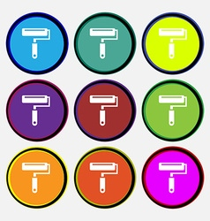 Paint roller icon sign Nine multi colored round vector