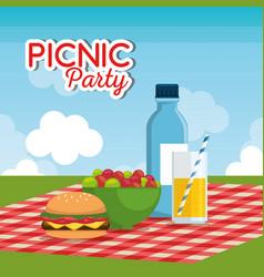Picnic party celebration scene vector