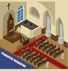 Priestly ministry isometric composition vector