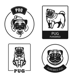 pug icon set simple style vector image