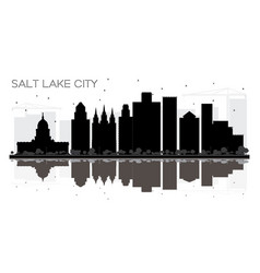 salt lake city utah skyline black and white vector image