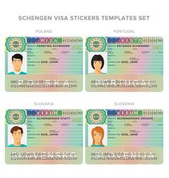 Schengen visa passport sticker templates for vector