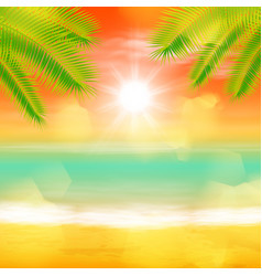 sea sunset with palmtree leaves and light on lens vector image