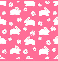 seamless pattern of white bunnies on pink vector image