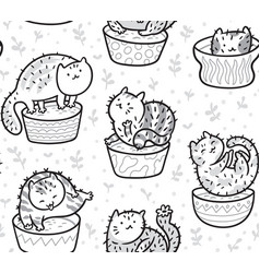 seamless pattern with cute succulent or cactus vector image