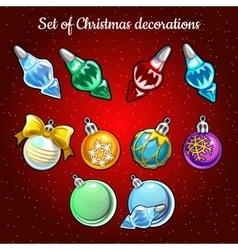 Set of Christmas toys and decor on Christmas tree vector image