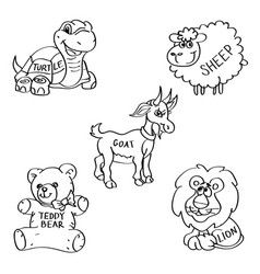 Set of hand drawn soft toy doodles isolated on a vector