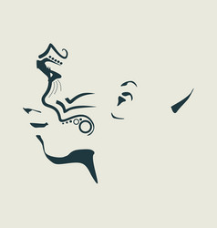 Silhouette of a female face vector