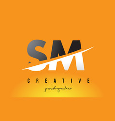 Sm s m letter modern logo design with yellow vector