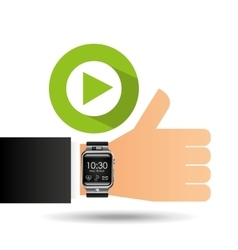 smart watch on hand- video player vector image