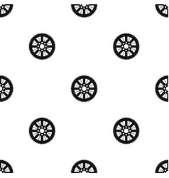 sprocket from bike pattern seamless black vector image