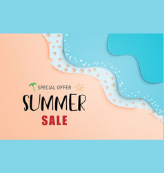 summer sale banner or poster with sea wave and vector image