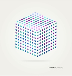 Three-dimensional cube of colored dots vector