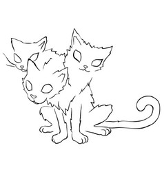 three headed cat line drawing vector image