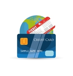 Travel credit card ticket world tour vector