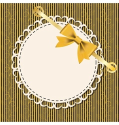 Vintage gold frame on floral background vector image
