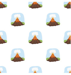 Volcano eruption icon in cartoon style isolated on vector