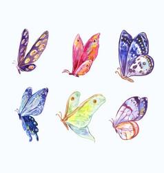 Watercolor butterflies in three-quarter view vector