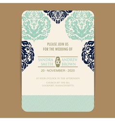 Wedding navy blue vintage invitation card vector