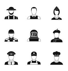Workers icons set simple style vector