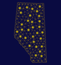 Yellow mesh wire frame alberta province map vector