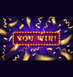 you win text over color golden confetti vector image