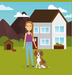 young woman with mascot in the garden vector image