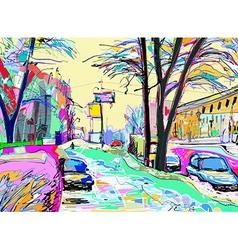 Digital painting of winter landscape vector