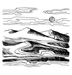 sand dunes sketch vector image