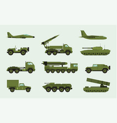 set of different military transport modern vector image vector image