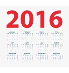 Calendar for the year 2016 vector image vector image