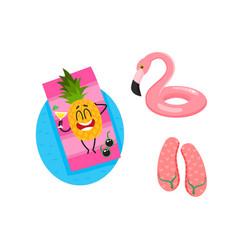 Cartoon summer fruit characters icon set vector