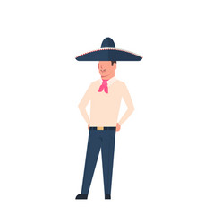 mexican man in traditional costume and sombrero vector image