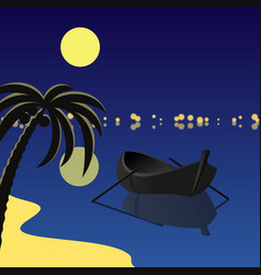 square with boat and moon vector image