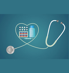 stethoscope in the shape of a heart with pills vector image